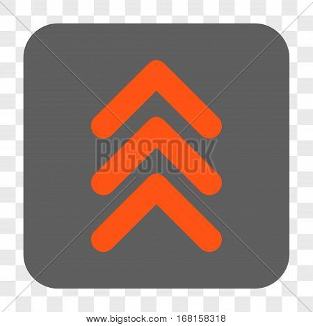 Triple Arrowhead Up interface toolbar button. Vector icon style is a flat symbol on a rounded square button orange and gray colors chess transparent background.