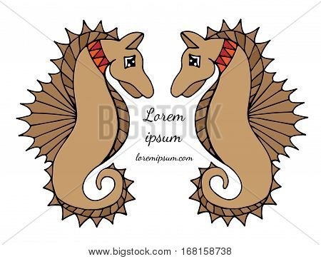 Two sea horse with place for text on the white background. Can be used for card invitation posters placards banners.