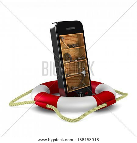Phone service on white background. Isolated 3D image.