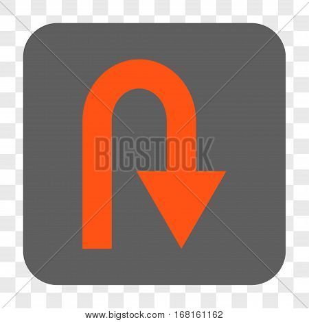 U Turn interface toolbar button. Vector icon style is a flat symbol inside a rounded square button orange and gray colors chess transparent background.