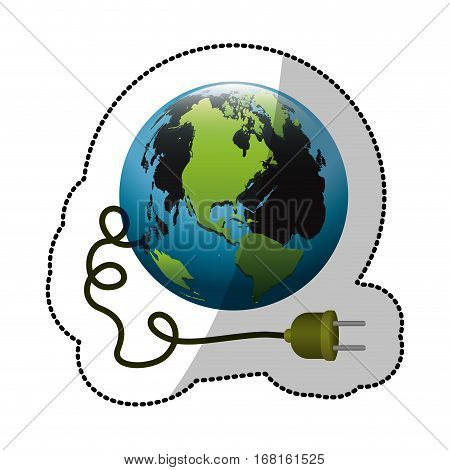 colorful silhouette sticker with world and power cord with stain petroleum vector illustration