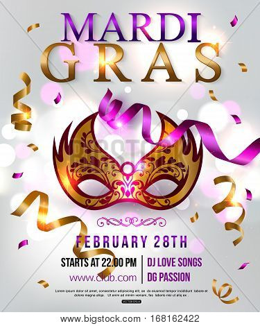 Mardi Gras party flyer design with festival mask. Vector illustration.