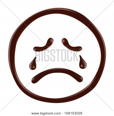 Chocolate Smiley Face On White Background