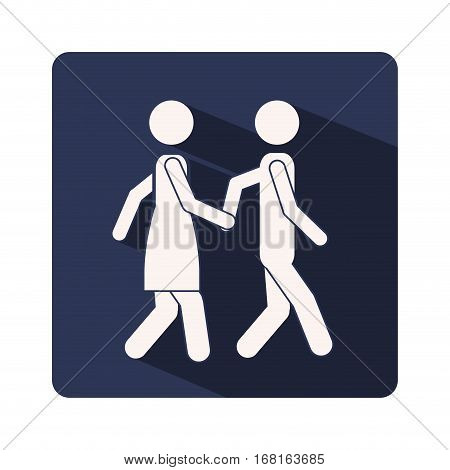 color silhouette frame with couple walking and holding hands vector illustration