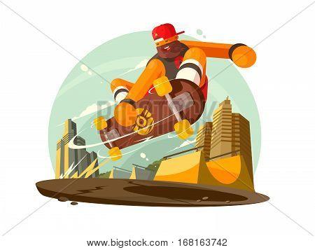 Trendy guy riding skateboard in city. Vector flat illustration