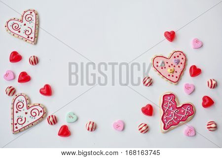 Valentine's Day, decorating, holiday, valentine, celebration, greeting, love, heart, cookies, candy, hearts, Valentine's Day, candy, love, Valentine's Day, romance, chocolate, love, background. illustration, valentine's day, red, pink, and white.