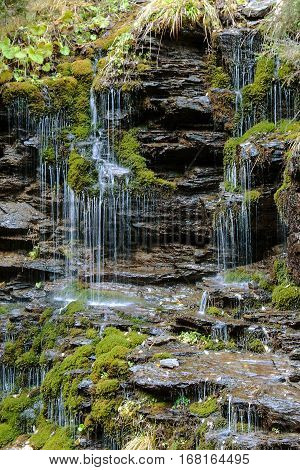 Waterfall as hair in the Jeseniky Mountains, Czech Republic