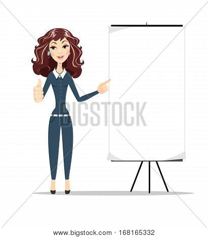 Business woman shows on banner, white background portrait. Thumb up. Female business model. Smiling girl isolated. Stock vector illustration