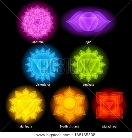 Colorful glow chakras symbols icons set. Spiritual meditation elements vector illustration.