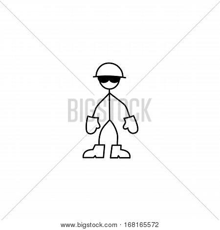 Cartoon icon of sketch stick figure man in helmet vector in cute miniature scenes.