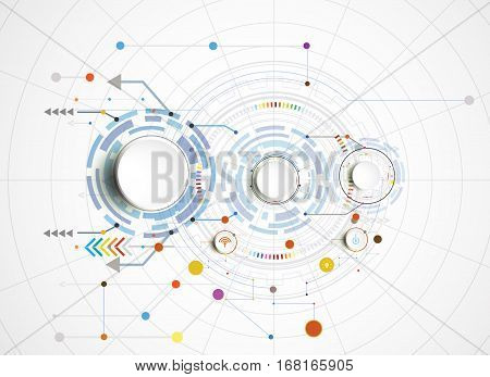 Vector illustration Hi-tech digital technology communication network for infographic and gear with icon and engineering digital telecoms concept Abstract futurists on white color background