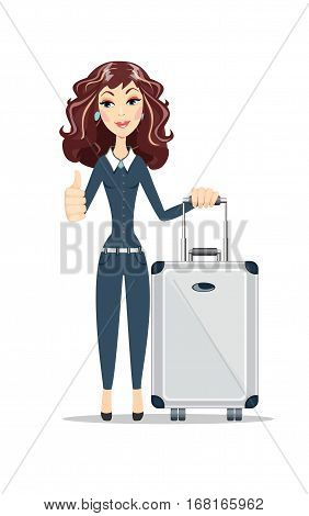 Full length portrait of excited young businesswoman with travel bag on white background. Thumb up. Female business model. Stock vector illustration