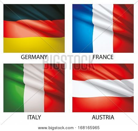 Flags of the world vector. Flags waving in the wind. Set of world flags. Vector illustration. Flag of Germany. Flag of Austria. Flag of France. Flag of Italy.
