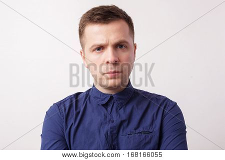 Young Man Looking Confidently Forward, Carefully Looking Ahead