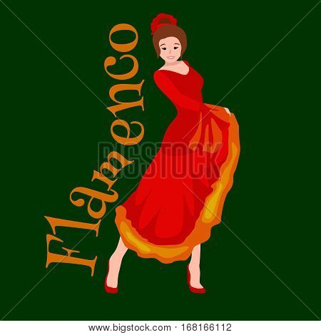 Girl flamenco dancer in red dress, spanish beautiful dance, spain young woman, music fashion person, happy sexy woman dancing flamenco, Spanish girl vector illustration isolated on green. Dancing flamenco woman