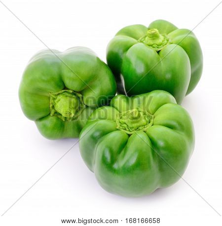 Three green peppers isolated on white background.