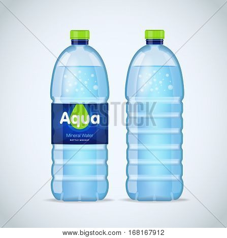 Realistic bottle with clean blue water isolated on the white background. Vector mockup. Front view