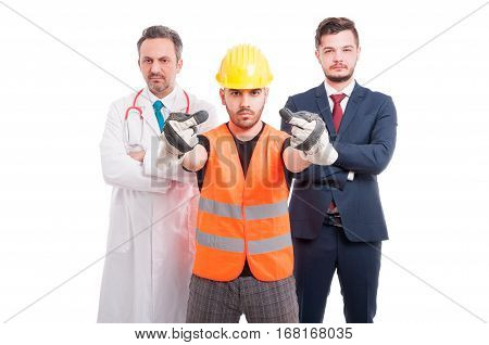 Group Of Arrogant Men With Different Profession