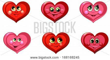 Vector illustration - Set of a red hearts with smiles - love concepts