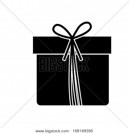 monochrome silhouette with giftbox with ribbon vector illustration
