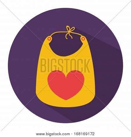 color silhouette with baby bib in round frame vector illustration