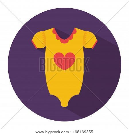 color silhouette with baby pijama in round frame vector illustration