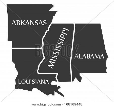 Arkansas - Louisiana - Mississippi - Alabama Map Labelled Black