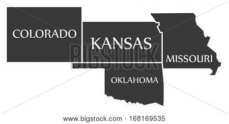 Colorado - Kansas - Oklahoma - Missouri Map Labelled Black