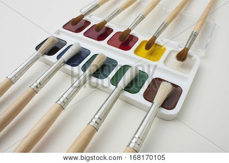 the brushes and a paints for drawing