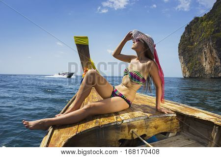 The Girl In A Bathing Suit On A Boat