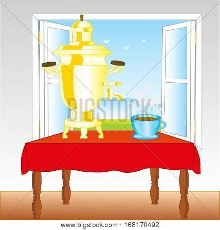 Open window in room and samovar on table