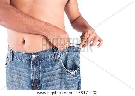 Man abdomen with measuring tape on white background