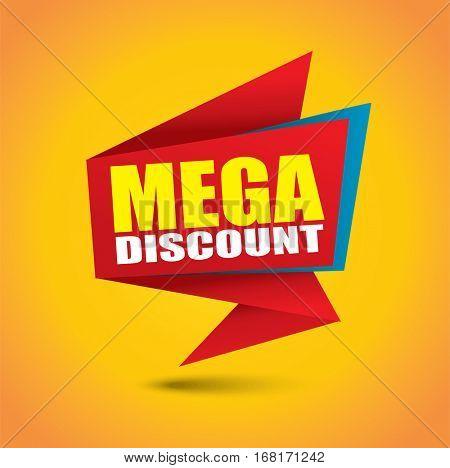 Mega discount bubble banner in vibrant colors
