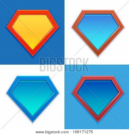 Superhero logo template. Blank super hero badge set. Vector illustration