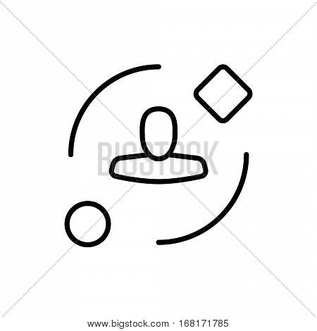 Symbol of Ambient User Experience Thin line Icon of Future Technology. Stroke Pictogram Graphic for Web Design. Quality Outline Vector Symbol Concept. Premium Mono Linear Beautiful Plain Laconic
