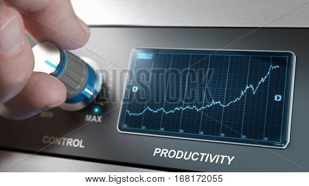 Hand turning control knob to the maximum to increase productivity speed Concept for production management or improvement. Composite between an image and a 3D background