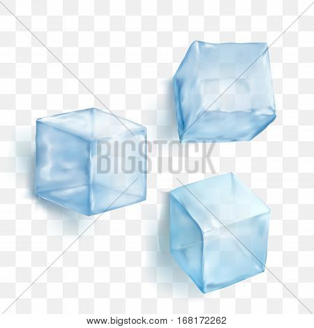 Realistic blue solid ice cubes on transparent background vector illustration