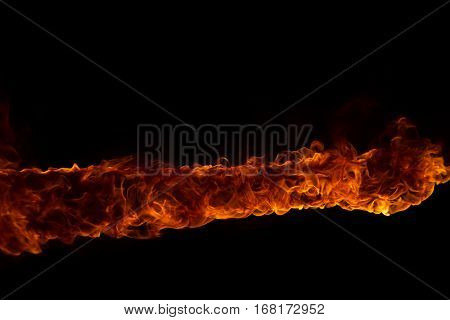 Blazing flames over black background poster