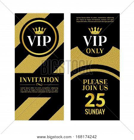 VIP party premium golden invitation card design. Quilted party banner certificate. Vip club with crown decoration. Elegant premium invitation.