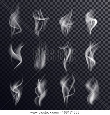 Set of isolated gray or white smoke or steam, vapor or smog on transparent background or backdrop. Messy chemical curve or trail, haze or mist, abstract background and hookah smoking theme