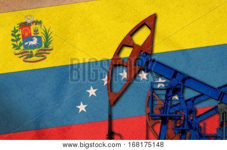 Oil Pump On Background Of The Flag Venezuela