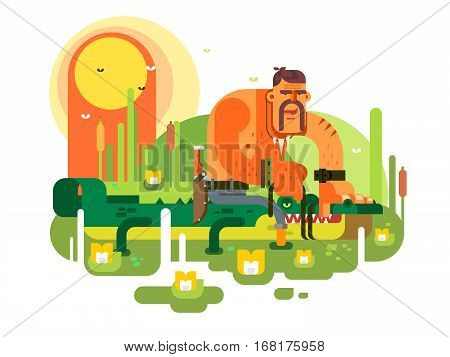Crocodile hunter character. Dangerous animal, wildlife nature predator, vector illustration