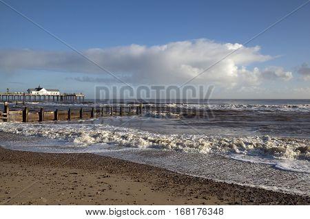 Waves crashing on Southwold beach Suffolk England
