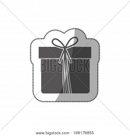 sticker grayscale silhouette with giftbox with ribbon vector illustration
