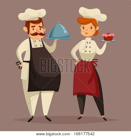 Man chef with dish on tray and woman cook in uniform and hat holding plate with cake. Kitchen worker and food serving character. Employee at cooking job, catering people, gastronomy and cuisine theme