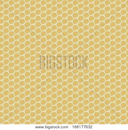 Yellow honeycomb hexagons vector seamless pattern. Background with honey comb illustration