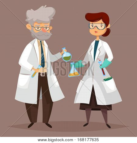 Man and woman chemist with test tubes and flasks, glass beaker. Scientists professor worker at lab or laboratory, chemical research specialist. Education and science, job and work, employee and people