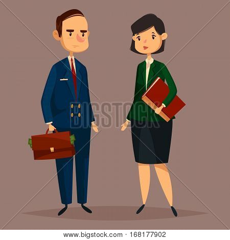 Banker man with dollar banknotes in bag or case and finance woman with document folder. Cartoon worker of bank in suit with necktie and financial consultant. Job and economic, office theme
