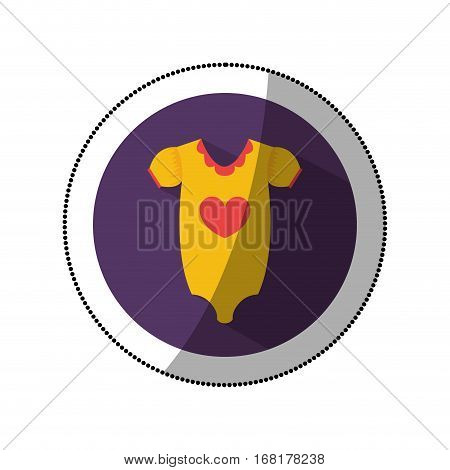 sticker color silhouette with baby pijama in round frame vector illustration