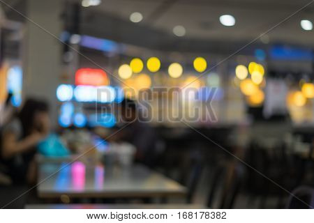 Blurred Or Defocus Image Of Restaurant Or Cafeteria